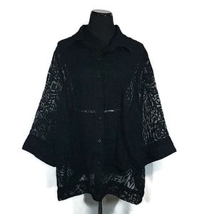 Rudy Rd. Black Sheer Patterned Button Front Blouse